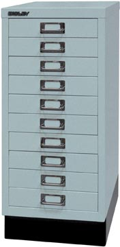 Bisley ladekast, ft 67 x 27,9 x 40,8 (h x b x d), 10 laden, zilver-grijs