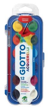 Giotto waterverf, doos met 12 napjes en 1 penseel