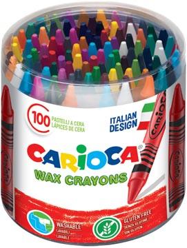 Carioca waskrijt Wax, plastic pot met 100 stuks in geassorteerde kleuren