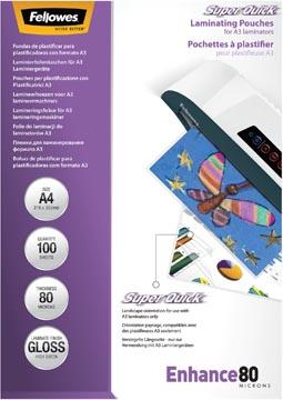 Fellowes Super Quick lamineerhoes Enhance80 ft A4, 160 micron (2 x 80 micron), pak van 100 stuks