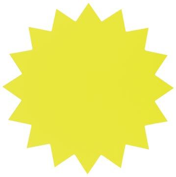 Folia etiketten in fluokarton 18 cm fluo geel (sterren)