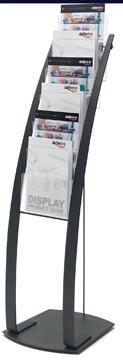 Deflecto Folderhouder op L-voet met 6 compartimenten, ft A4, zwart