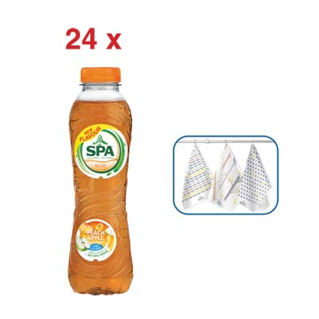 ACTIE SPA: 1 x Duo limonade perzik-appel, 50 cl, 24 stuks (ref. 51854) + GRATIS 1 x Spa keukenhanddoek