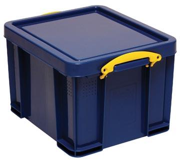 Really Useful Box opbergdoos 35 liter, donkerblauw met gele handvaten